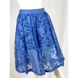 Top Shop Women's Blue Floral Midi Skirt